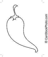 hot chili pepper - outline illustration of hot chili pepper