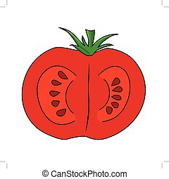 cutting tomato - vector illustration of cutting tomato