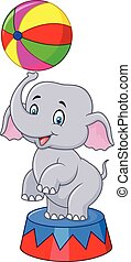 Circus elephant with a striped ball - Vector illustration of...