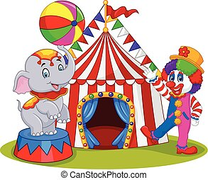 Circus elephant and clown - Vector illustration of Circus...