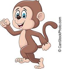 Cartoon funny monkey running - Vector illustration of...