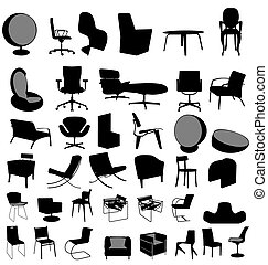chairs collection - many illustrated designer chairs with...