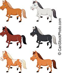 Cartoon horse collection set - Vector illustration of...