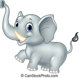 Cartoon funny baby elephant