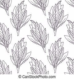 Hand drawn sage branch outline seamless pattern Doodle...