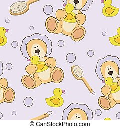 Teddy bear bath time seamless pattern - Teddy bear bath time...