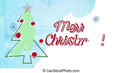 merry christmas card child's drawing style animation. Last 5...
