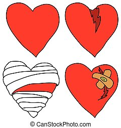 Set of hearts - Set of vector doodle hearts on white...