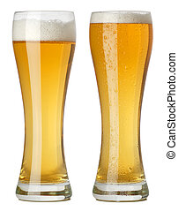Two tall glasses of beer - Photo of two tall glasses of...