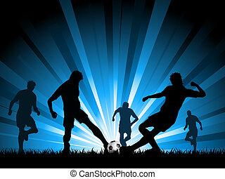homens, tocando, futebol