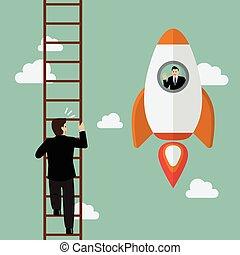 Businessman on a Rocket fly pass businessman climbing the ladder