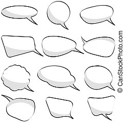 cartoon elements - different speech bubbles with shadow