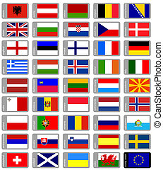 europeo, banderas, Conjunto