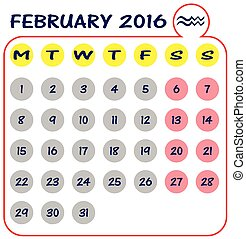 Calendar of 2016, February, on White Background starts from...