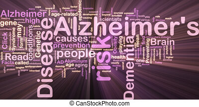 Alzheimer\'s disease wordcloud glowing - Word cloud concept...