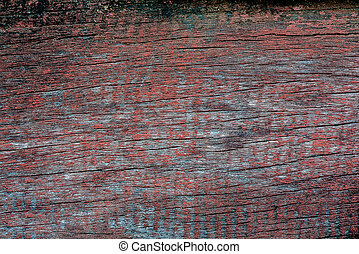 Old and weathered paint peeled grunge wooden background...