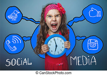 social media network infographics set sketch teen girl clock...
