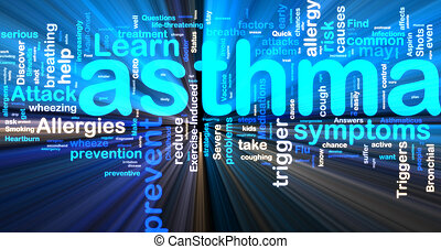 Asthma wordcloud glowing - Word cloud tags concept...