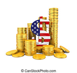 US Dollar Symbol and Gold Coins isolated on white background...