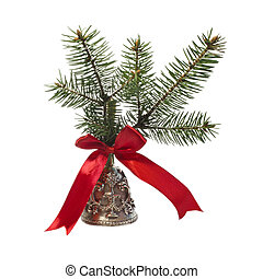 Christmas bronze bell - Christmas bell decorated with fir...
