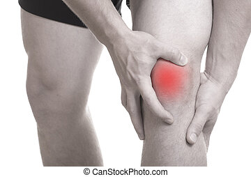 Knee pain and Injury - Closeup black and white image of...