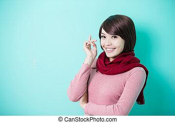 Young woman wearing winter clothing - Young beautiful woman...