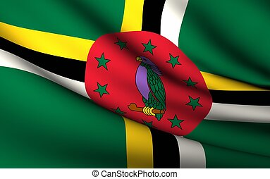 Flying Flag of Dominica | All Countries Collection |