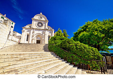Sibenik st James UNESCO cathedral view, Dalmatia, Croatia