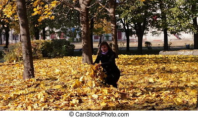 Happy Girl in the autumn park - Woman in the autumn park...