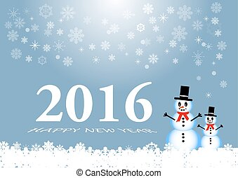 Happy new year card with snowmans - Happy new year card with...