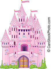 Magic Castle - Vector Illustration of a Fairy Tale Princess...