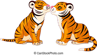 Two Tigers in Love - Vector illustration of Two Tigers in...