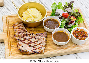 t-bone beef steak - australian t-bone beef steak serve with...