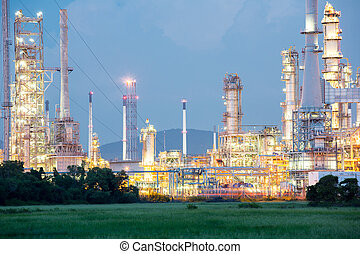 Oil Refinery Factory - Oil Refinery Plant at dusk