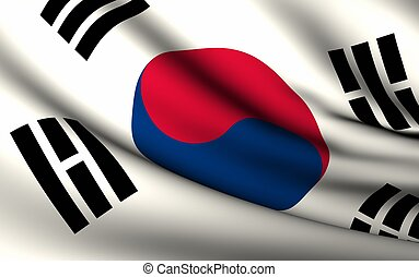 Flying Flag of South Korea | All Countries Collection |