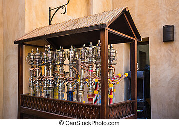 Shisha pipes hookah on the streets of the Old Town in Dubai