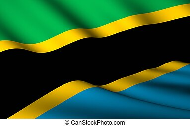 Flying Flag of Tanzania | All Countries Collection |
