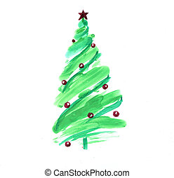 Stylized Christmas tree with colorful ornaments, isolated on...