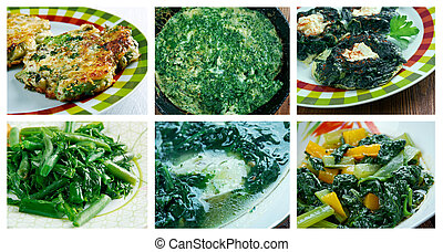different spinach and chopped herb dishi - Food set of...