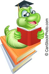 Bookworm Education Concept - Green cartoon caterpillar worm...