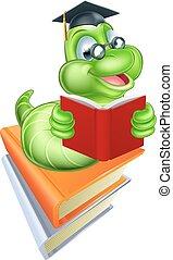 Bookworm Education Concept - Green cartoon caterpillar worm...