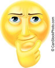 Thinking Emoji Emoticon - A thinking emoji emoticon smiley...