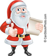 Cartoon Santa and Scroll - Santa Claus with his Christmas...