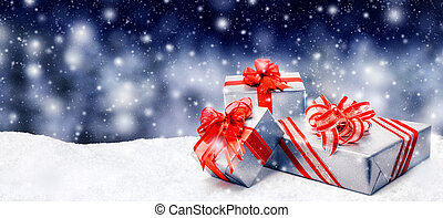 Christmas presents in snow - Silver Christmas or birthday...