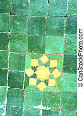 abstract morocco in africa tile green yellow - abstract...
