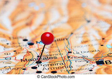 Manizales pinned on America map - Photo of pinned Manizales...