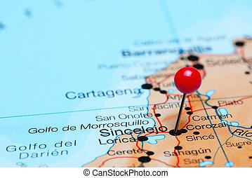 Sincelejo pinned on America map - Photo of pinned Sincelejo...