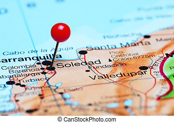 Soledad pinned on a map of America - Photo of pinned Soledad...