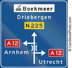 Dutch non-motorway advance information panel showing...