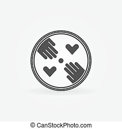 Flat hand made symbol - vector hand-made label or badge
